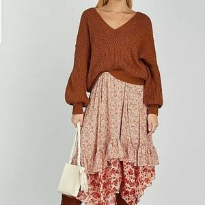Free People Zuma Floral Tiered Skirt